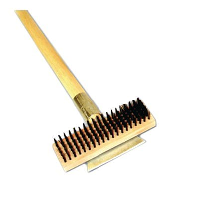 Thunder Group Heavy Duty Wire Brush with Scraper and Long Wood Handle, 27-Inch