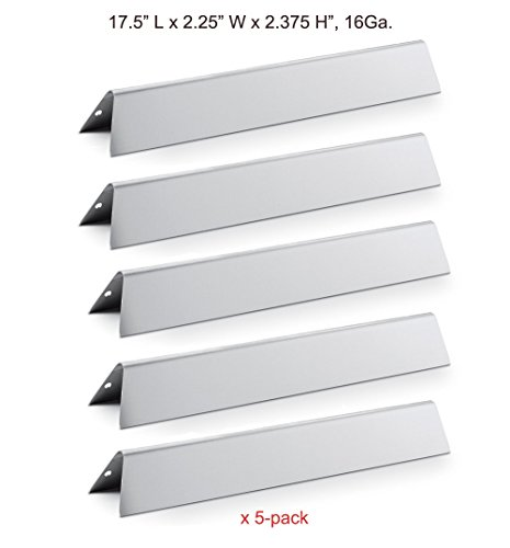 BBQ funland SH7620 Stainless Steel Replacement Flavorizer Bars set for 300 Series Gas Grills, Set of 5, 17.5″ (16 Ga.) Aftermarket