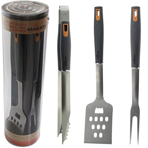 Makimy 3-Piece BBQ Tool Set – Gift Box – Best Value Grill Accessories Professional-Grade Heavy Duty Extra Strong Stainless-Steel With Non-Slip Handles on Amazon – Perfect for Smokers, Charcoal, Gas, Electric and Infrared Outdoor Grills – The Ideal Gift Idea for Men – Perfect Gift For Dad