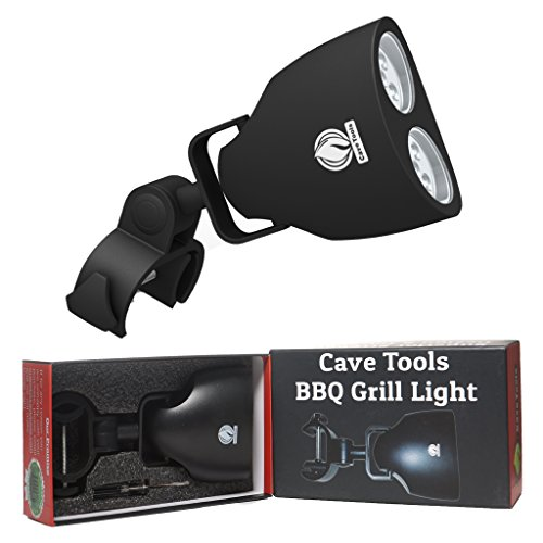 Barbecue Grill Light – LUXURIOUS GIFT BOX – Upgraded Handle Mount Fits Round & Square Bars on any BBQ Pit – 10 LED for Grilling at Night – Best Lighting Accessories – Cave Tools