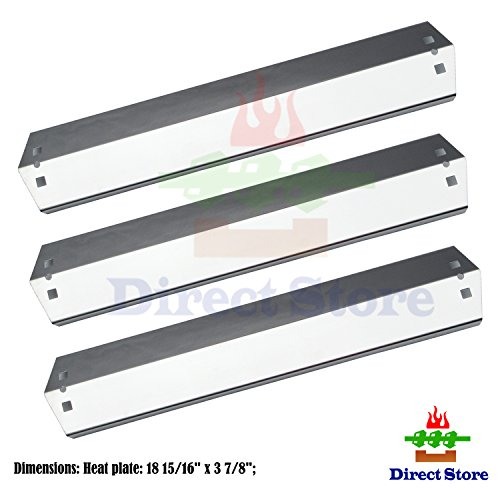 Direct store Parts DP106 (3-pack) Stainless Steel Heat plates Replacement CharGriller 3001,3008,3030,4000,5050,5252; King Griller 3008,5252 Gas Grill (Stainless Steel heat plates)