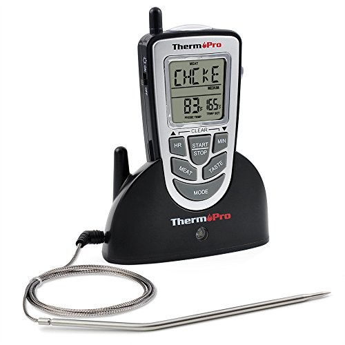 ThermoPro TP09 – Digital Smoker BBQ Oven Grill Food Wireless Cooking Thermometer with Long Range, Instant Read Meat Thermometer, Perfect for Grilling or Kitchen Use, Battery Included