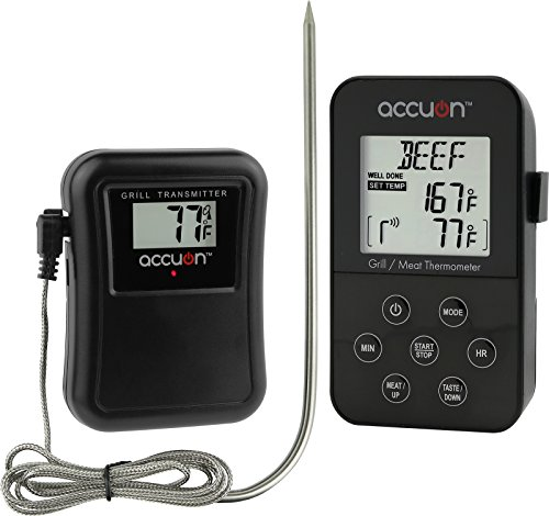 Accuon Wireless Digital Thermometer Set – Remote BBQ / Smoker / Grill / Oven / Meat / Thermometer – Monitor Your Food From up to 300 Feet Away